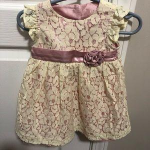 Other - Beautiful lace cream & powder pink dress size 9 mo